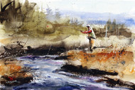 """FLY FISHING, Sketch"" original watercolor painting by Dean Crouser. Measures approximately 10"" wide by 7"" tall. This image features a fly fisherman hooking a trout in a meadow stream. Here's an opportunity to own a DC original! Artist retains all rights to future use of this painting."
