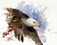 """BALD EAGLE"" original watercolor painting by Dean Crouser. This original painting measures approximately 6-1/2"" wide by 5-1/2"" tall. Artist retains all future right to use of this image. Thanks for looking!"