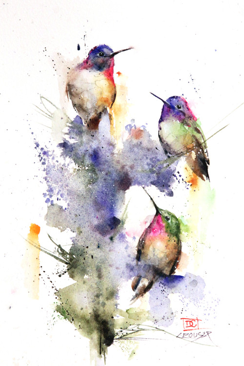 """THREE'S COMPANY"" hummingbird art depicts three little hummers perched on a colorful summertime flower. Available in giclee' prints, ceramic tiles and coasters, greeting cards and more. Prints are limited edition and signed and numbered. Edition limited to 400."