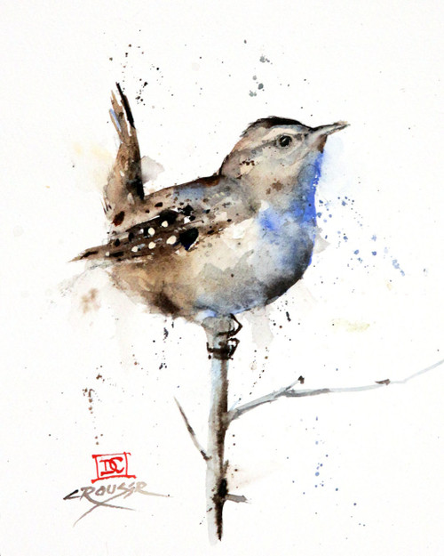 """""""WREN"""" bird art from an original painting by Dean Crouser. Available in giclee' prints, ceramic tiles and coasters, greeting cards and more. Prints are limited edition and signed and numbered. Edition limited to 400."""