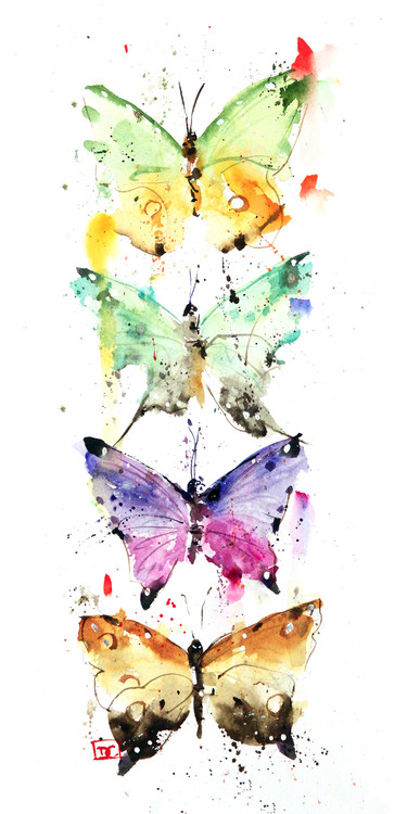 """FOUR BUTTERFLIES"" butterfly art from an original painting by Dean Crouser. Available in giclee' prints, ceramic tiles and coasters, greeting cards and more. Prints are limited edition and signed and numbered. Edition limited to 400."