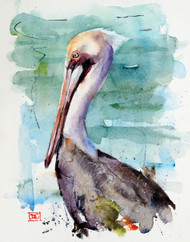 """""""PELICAN"""" bird art from an original watercolor painting by Dean Crouser. This image features one of Dean Crouser's loose and colorful pelicans resting near the water. Available in a variety of products including ceramic tiles and coasters, greeting cards, limited edition prints and more. L/E prints are signed and numbered by the artist and edition size limited to 400. Be sure to visit Dean's other hummingbird, bird, wildlife, and nature watercolor paintings."""