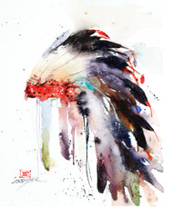 INDIAN HEADDRESS art from an original watercolor painting by Dean Crouser. Available in a variety of products including signed and numbered prints, ceramic tiles and coasters, greeting cards and more. Prints are limited to edition size of 400.