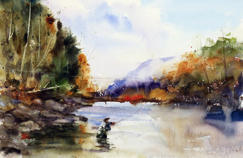 """""""AUTUMN SOLITUDE"""" original watercolor painting by Dean Crouser. Painting depicts a lone fly fisherman on a river embraced in the colors of fall. This original painting measures approximately 14"""" wide by 9"""" tall. Will be professionally packaged for safe shipping. Artist retains any and all rights to future use of this image."""