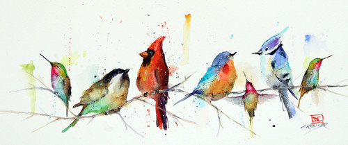 """""""LITTLE BIRDS, Sketch"""" original watercolor painting by Dean Crouser. This painting features a group of birds gathering on a branch. Measures approximately 12-1/2"""" wide by 5"""" tall. Artist retains any and all right to future use of this painting. Thanks for looking!"""