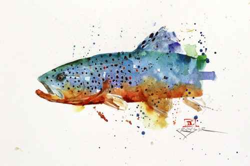 """ROWN TROUT, Sketch"""" original watercolor painting by Dean Crouser. This painting was done as a study for a larger future painting.  Measures approximately 10"""" wide by 6-1/2"""" tall. Artist retains any and all future rights to use of this painting. Thanks for looking!"""