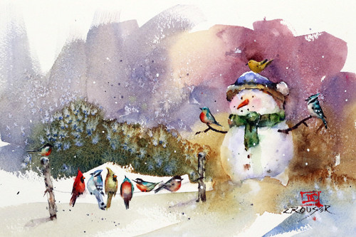 """SNOWMAN and SONGBIRDS"" bird art from an original watercolor painting by Dean Crouser. This winter snow scene features a snowman surrounded by a group of bird friends. Available in a variety of products including signed prints, art tiles and coasters, cutting boards, greeting cards and more. Prints are limited to edition size of 400. Thanks for looking!"