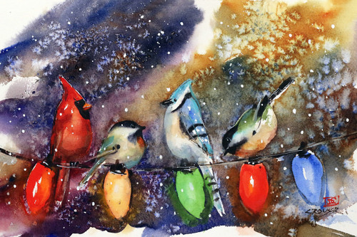 """HOLIDAY CHIRPERS"" festive bird art from an original watercolor painting by Dean Crouser. Available in a variety of products including limited edition signed and numbered prints, tiles, coasters, greeting cards and more."