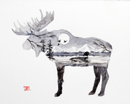 """'MOOSE & LOON' original watercolor painting by Dean Crouser. This original painting measures approximately 9"""" tall by 11-1/2"""" wide. Painted on Arches 300 lb. hot press watercolor paper. Artist retains any and all rights to future us of this painting. Here's a great opportunity to own a DC original - thanks for looking!"""