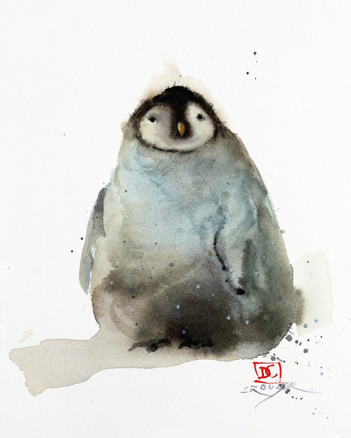 "'BABY PENGUIN' original watercolor painting by Dean Crouser. Measures approximately 5-3/4"" wide by 7-1/4"" tall. Artist retains any and all rights to future use of this image. Thanks for looking!"