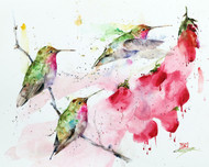 """HUMMINGBIRDS and FLOWERS"" limited edition hummingbird art from an original watercolor painting by Dean Crouser. This image depicts three of Dean Crouser's loose and colorful hummingbirds ascending upon a group of flowers. Available in a variety of products including ceramic tiles and coasters, greeting cards, limited edition prints and more. L/E prints are signed and numbered by the artist and edition size limited to 400. Be sure to visit Dean's other hummingbird, bird, wildlife, and nature watercolor paintings."