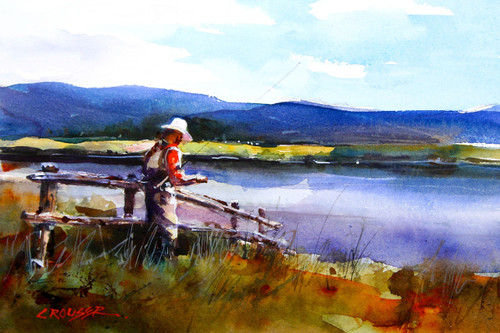 """TYING UP"" fishing art from an original watercolor painting by Dean Crouser. Available in a wide variety of products including signed and numbered limited edition prints, ceramic tiles and coasters, greeting cards and more. S/N prints limited to 400 in edition."