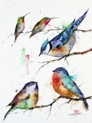 """""""The GET-TOGETHER""""songbird art from an original painting by Dean Crouser (original has been sold). Available in a variety of products including limited edition signed and numbered prints, ceramic tiles and coasters, greeting cards and more."""