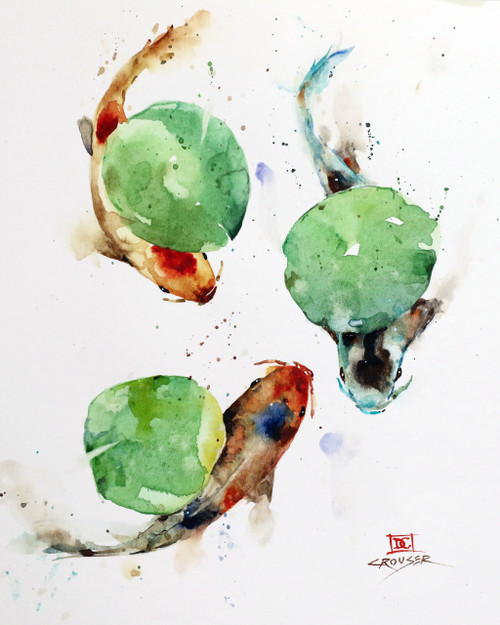 """""""KOI & LILY PADS"""" original watercolor painting by Dean Crouser. This original fish painting depicts three koi swimming under a group of lily pads. Measures approximately 9"""" wide by 10-3/4"""" tall. Artist retains any and all rights to future use of this image. Thanks for looking!"""