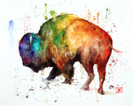 """BUFFALO LOCO"" wild and crazy bison art from an original painting by Dean Crouser. Available in a variety of options including limited edition prints, ceramic tiles and coasters, greeting cards and more. S/N prints limited to 400 prints."