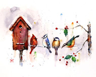 """WINTER BIRDHOUSE"" art from one of Dean's original watercolor paintings (original is sold). This painting depicts a gathering of winter birds that include a cardinal, chickadee, bluejay and nuthatch around the local birdhouse. Available in a variety of products including limited edition signed and numbered prints, ceramic tiles and coasters and greeting cards."