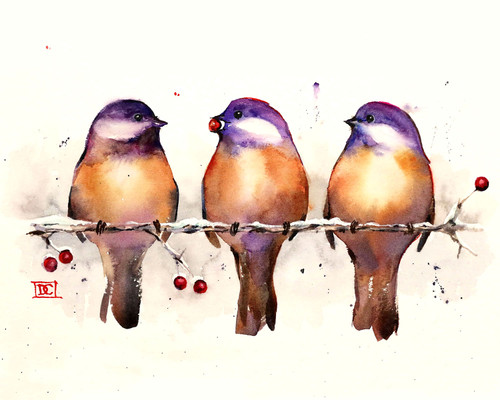 """""""ENOUGH FOR EVERYONE"""" bird art from one of Dean's original watercolor paintings (original has been sold"""". Available in a variety of options that include limited edition signed and numbered prints, ceramic tiles and coasters, greeting cards and more."""