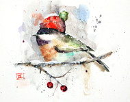 """""""CHICKADEE in CAP"""" depicts a winter chickadee nestled in with a warm knit hat. Available in a variety of products including limited edition signed and numbered prints, ceramic tiles and coasters greeting cards and more."""