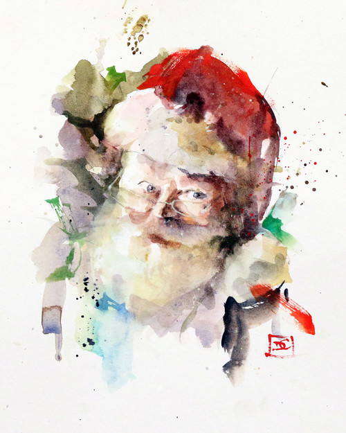 """""""SANTA"""" holiday art from one of Dean's original watercolor paintings. Available in a variety of products including limited edition signed and numbered prints, ceramic tiles and coasters greeting cards and more."""