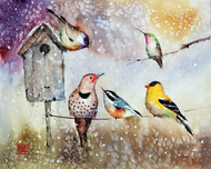 """SUNNY DAY SNOW SHOWER"" holiday art from one of Dean's original watercolor paintings. This painting depicts several winter birds gathering at the local birdhouse. It is just starting to snow on an otherwise sunny day. Available in a variety of products including limited edition signed and numbered prints, ceramic tiles and coasters greeting cards and more."