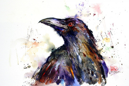 This print depicts a mischievous raven in all his glory.  Dean painted this fellow on a fly fishing trip to the St. Joe River in Idaho where this daily visitor kept the fisherman on their toes as he attempted to steal everything he could find. All of Dean's wildlife and nature watercolor paintings strive to capture the essence the subject whether it is a fish, bird or animal. His unique style aims to depict a subject in a way the viewer has never seen before in a watercolor painting.