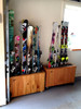 hand crafted cedar wood ski floor stand