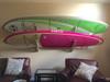 2 longboard surfboard wood storage rack