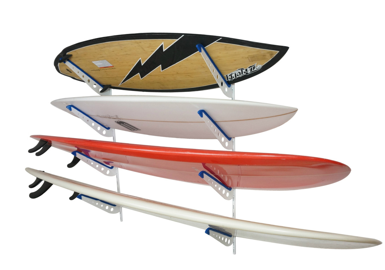 Adjustable Metal Surfboard Wall Rack 4 Boards