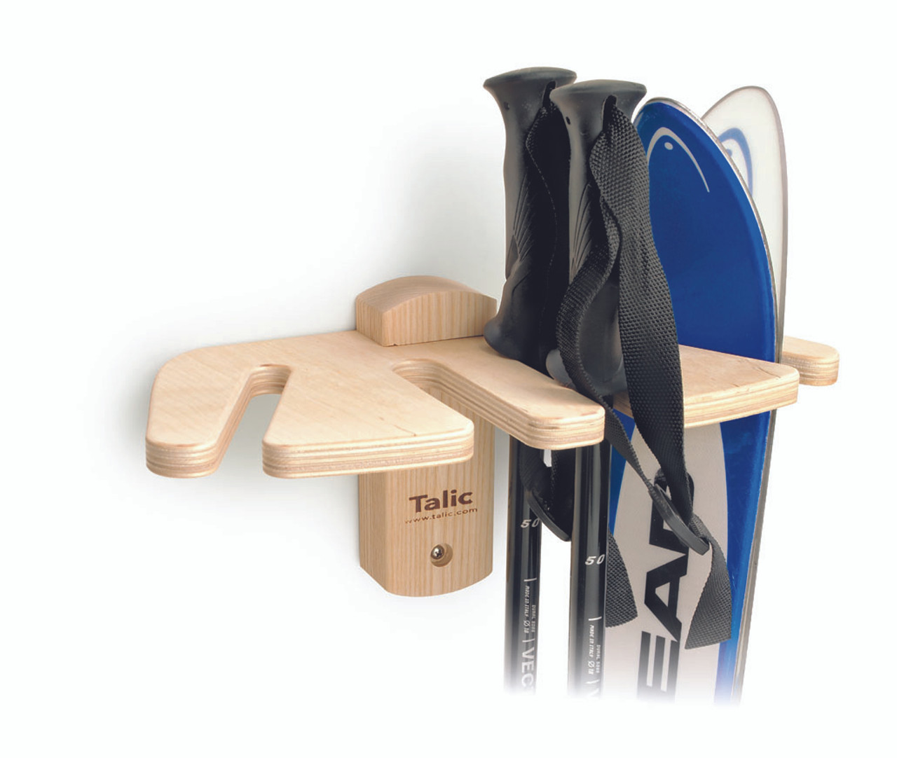 Talic Wall Mount Ski Rack Birch And Ash Wood