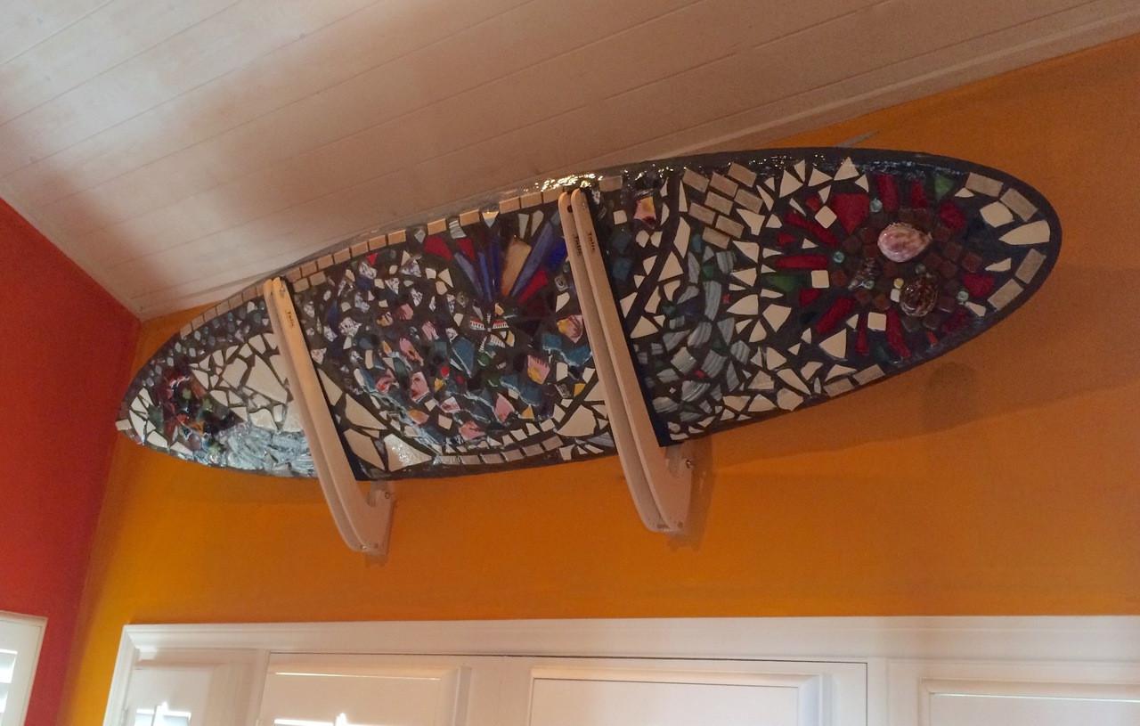 wooden surfboard wall rack