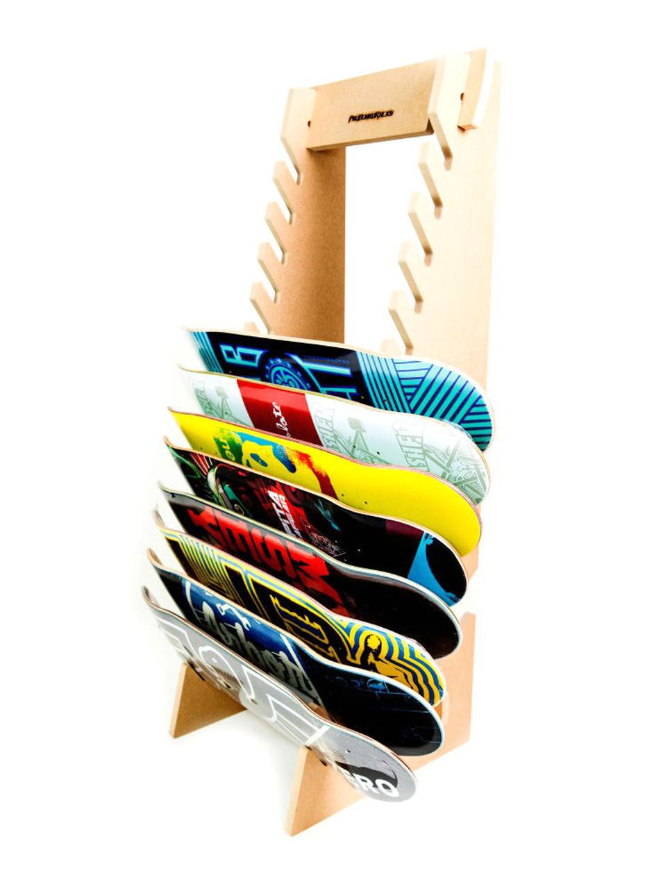 freestanding skateboard rack used for skate shops