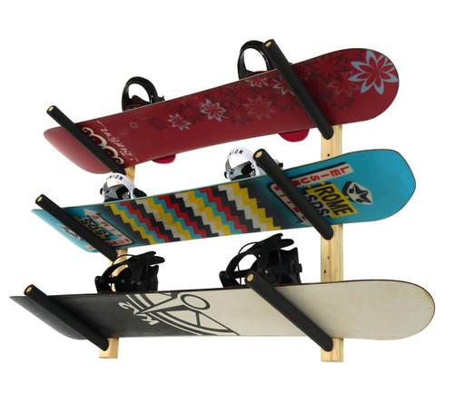 wood snowboard wall rack
