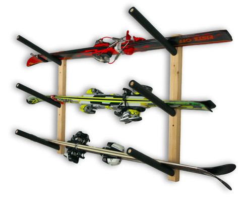 wooden ski wall rack