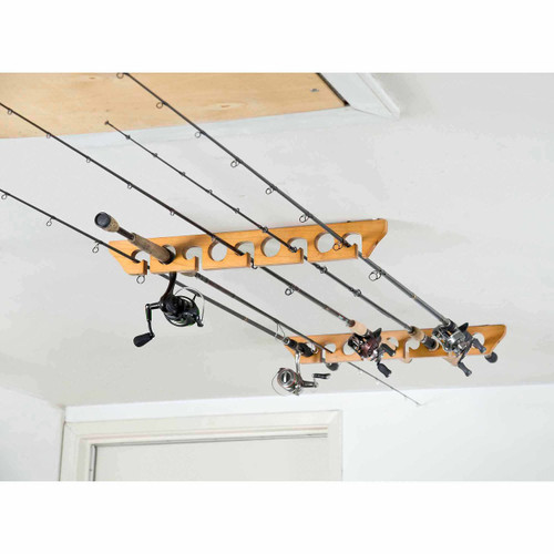 wood ceiling fishing rod rack