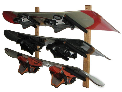 oak snowboard display rack