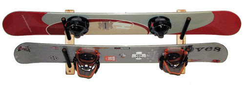 snowboard wood storage rack 2 boards angled