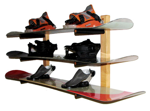 snowboard wood storage rack 3 boards level