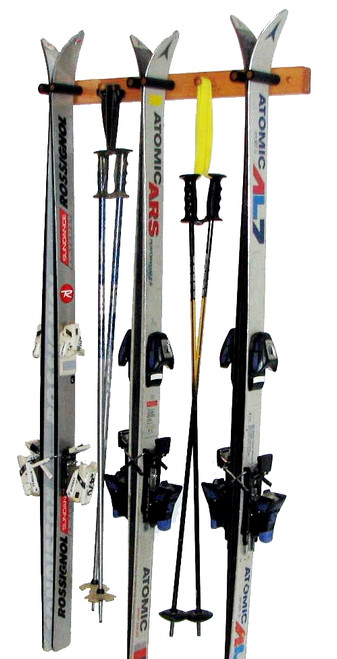 three ski wood storage rack