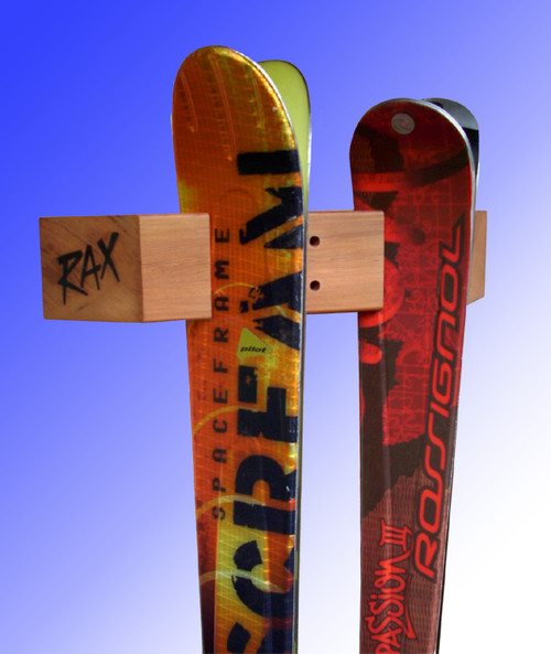 two ski display and storage rack rax