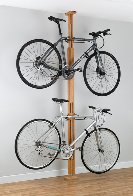 stylish wooden apartment bike rack