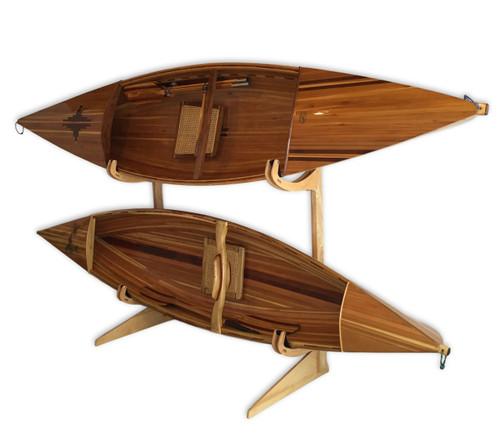 wood 2 kayak home floor stand