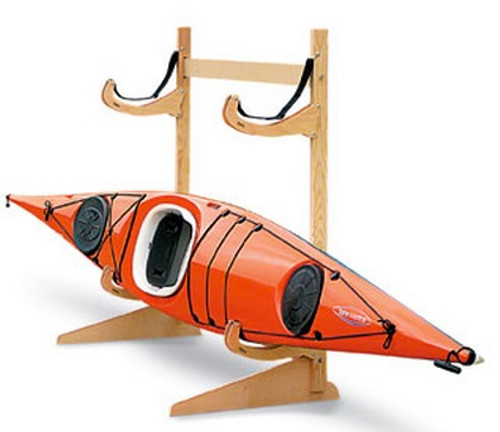freestanding wooden kayak rack