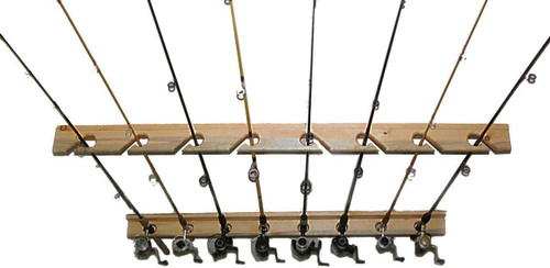Fishing rod rack that will hold up to 8 fishing rods.