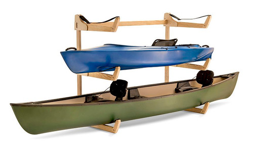 freestanding floor rack that holds 3 kayaks or canoes