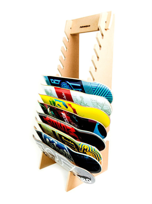 freestanding skateboard rack used for skate shops