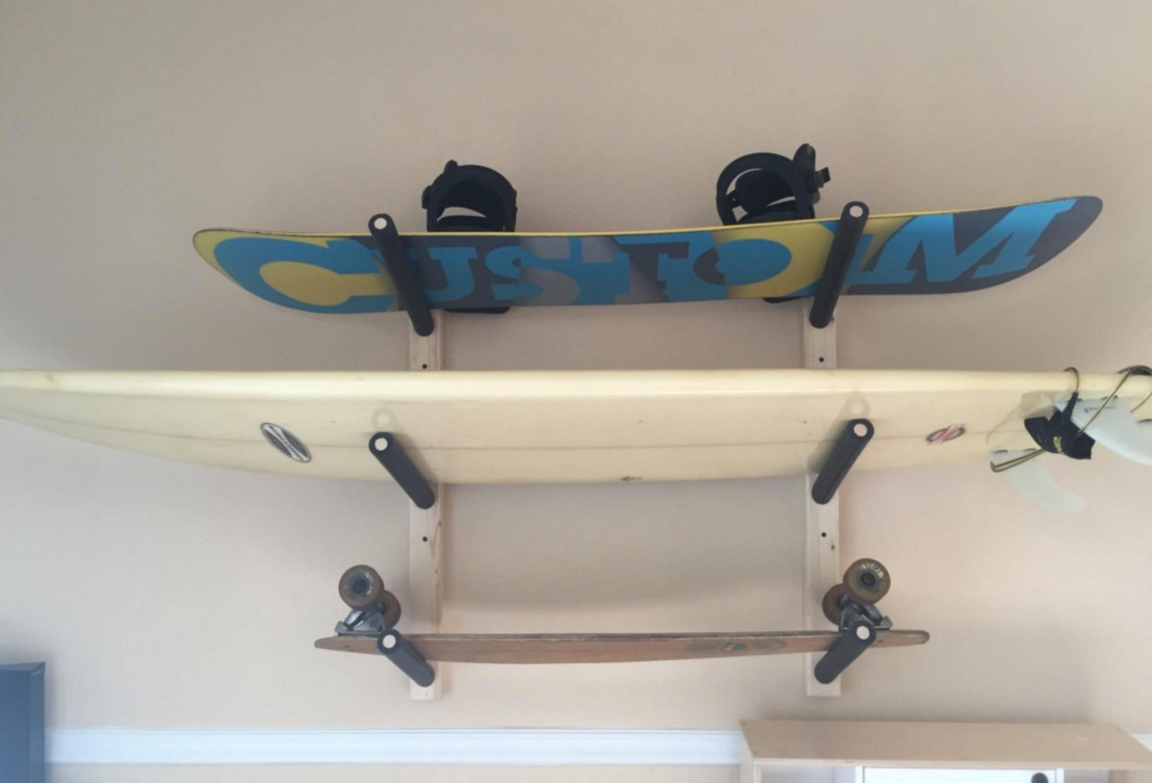 Surfboard Wall Rack Triple Wood Surf Rack Scorpion