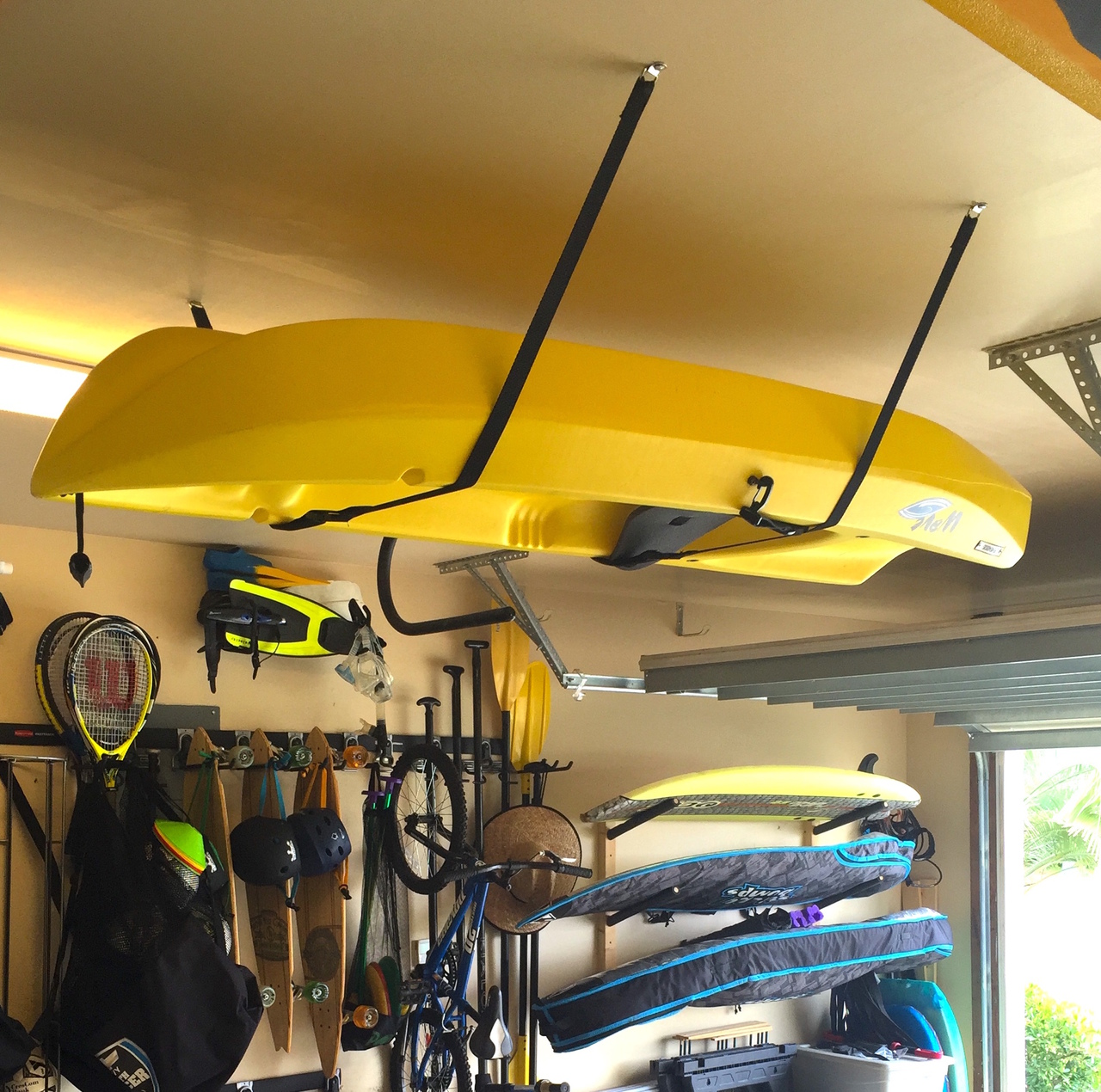 Awesome Home Garage Storage For Whitewater Kayaks