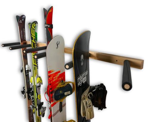 Vertical ski and snowboard wood wall rack 3 6 or 9 for Vertical lumber storage rack