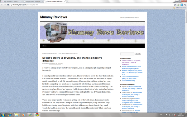 Mummy News Review of B Organic Products