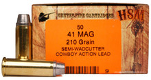 HSM 41 Magnum 210gr SWC-H Ammo - 50 Rounds